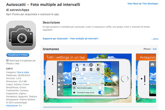 Autoscatti: Foto multiple ad intervalli App iPhone / iPad